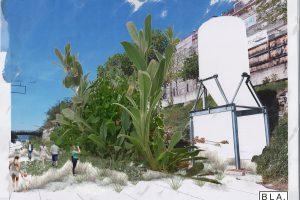 Wohnpark mit riesigen Pflanzen