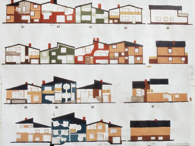 Skizze mit vielen bunten Häusern