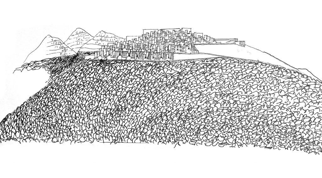 schwarz-weiß Skizze mit Stadt und Bergen