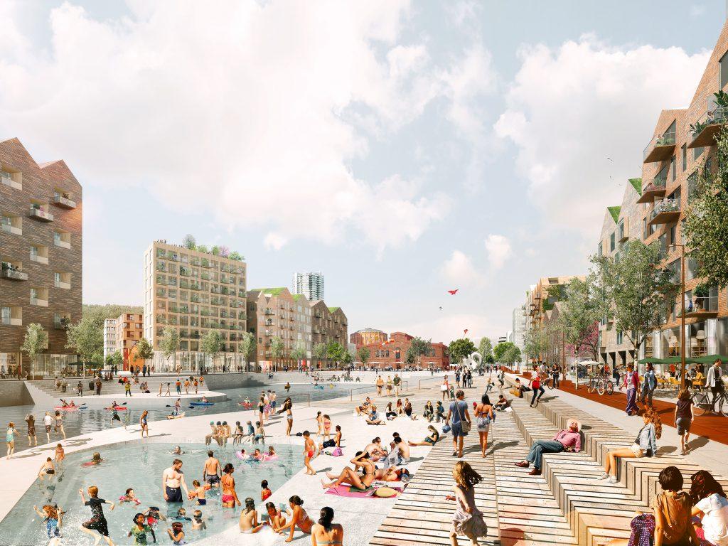 badende Menschen an Flussufer in einer Stadt