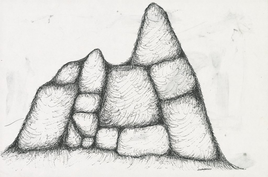 Drawing of a mountain in stone