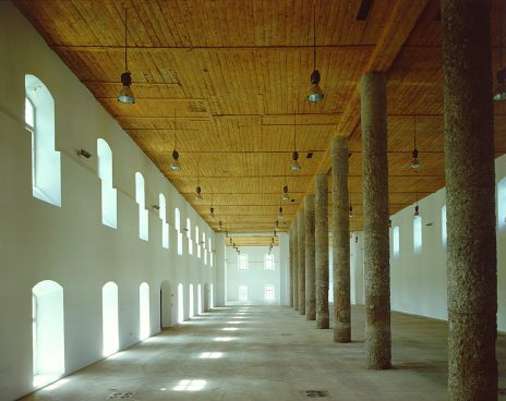 Large elongated interior with windows, columns and wooden ceiling