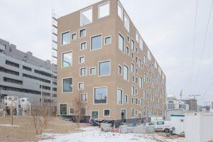 Neubaublock in hellbraun mit verschieden großen Fenstern