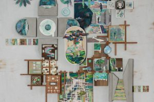 Top view of architectural plan in different shades of green and blue