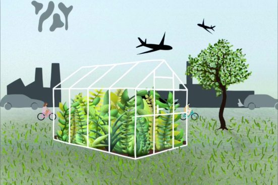 Drawing with glass house on meadow and aeroplanes flying over it