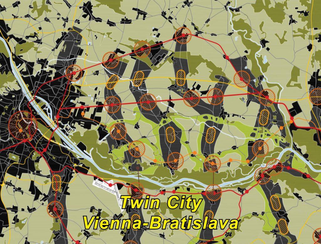 computer-gezeichnter Plan einer Landschaft mit Fluss und Städten