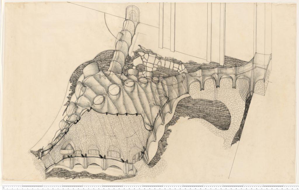 Bleistiftzeichnung mit Kuppeln und Arkaden